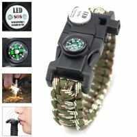20 in 1 Emergency Survival Paracord Bracelet SOS LED Camouflage Compass New