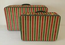 Vtg 1960s Pair of Asprey London Striped Velvet & Leather Suitcases Luggage Bags
