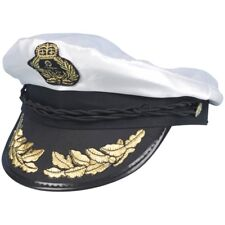 Adult's Satin Captain Hat - Fancy Dress Sailor Sea New Costume Deluxe Navy