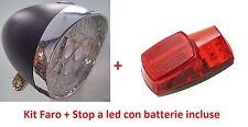 Kit a led Faro/Fanale Nero + Stop paraf. con batterie per Bici 20-24-26 Olanda