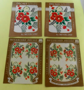Vintage Meyercord Decals Red Flowers & Doves 4 Packs