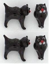 Black cat Lampwork Bead (19x20mm) Lot of 4 Glass beads