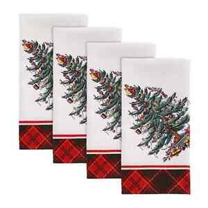 "NEW SET OF 4 SPODE CHRISTMAS TREE TARTAN 20""X20"" CLOTH NAPKINS PLAID AVANTI NIP"
