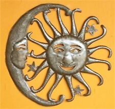 "HAITIAN METAL ART SUN MOON WALL SCULPTURE 13"" INDOOR OUTDOOR DECOR HAITI STEEL"