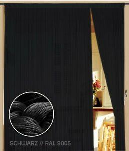 Fadenvorhang Vorhang Gardine Kaikoon 100 cm x 300 cm (BxH) Farbe schwarz