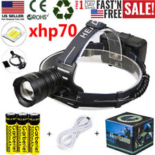 350000LMS XHP70 LED Headlamp IPX6 Zoom USB Rechargeable HeadTorch + 3 x 18650 US