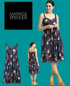Clearance! Marks and Spencer M&S Womens Size 8 10 14 Blue Floral Shift Dress