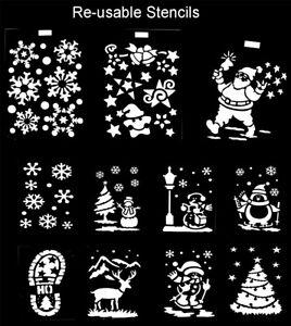 Christmas Stencils Window Painting Pattern Template Snowflakes Santa Snow Scene