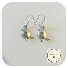 Little Robin Bird Earrings ⭐ Tibetan Silver ✨Dangle Drop 😍Silver Plated hooks