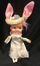 """Vintage Pixie Easter Bunny Rabbit With Parasol Dai Japan 10"""" Pixie Doll"""