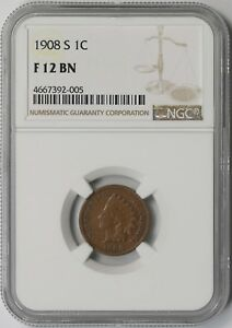 1908-S 1C NGC F 12 BN Indian Head Penny