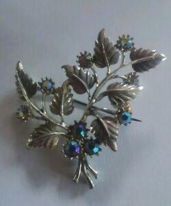 Vintage aurora borealis rhinestone flowers brooch