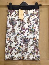 ZARA SKIRT SIZE S 6 FLORAL PRINT Fitted bnwt WHITE Multi
