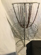 Portable disc golf basket used