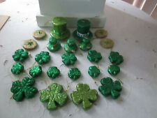 24 Assorted Glitter St. Patrick's Day Irish Shamrock, Hats & Coins Ornaments New