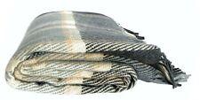Wolldecke Plaid 140 x 200 cm 100% Merinowolle, kariert, grau/ beige