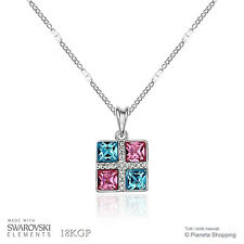 Collana Quadrato Cristallo Swarovski Elements Ciondolo Rosa Celeste Placcato Oro