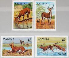 ZAMBIA SAMBIA 1987 438-41 427-30 WWF Enviromental Protection Wasserbock MNH