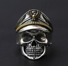 925 Sterling Silver skull captain Biker ring rings jewelry adjustable P1955