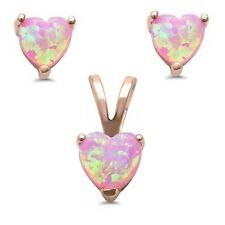 Rose Gold Plated Pink Opal Heart .925 Sterling Silver Pendant & Earring Set