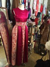 Vintage 60's 70's Fuchsia, Pink Gold Ballgown Prom Wedding Dress
