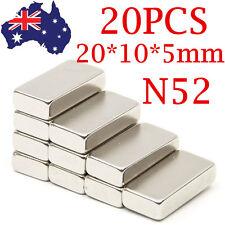20PCS N42 20x10x5mm Strong Neodymium Cube Magnet Block Rare Earth Bricks Fridge