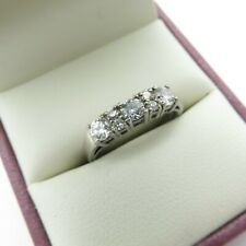 925 Sterling Silver Ring  Size M N CZ Half Eternity Cubic Zirconia