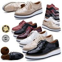 Womens Ladies Flat Platform Wedge Lace Up Goth Punk Creepers Shoes Brogues 3 4 5