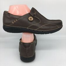 Clarks Unstructured Un Loop Leather Loafers Brown Womens Shoes Size 8W