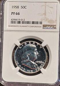 NGC PFS66 1958 Franklin Half Dollar Proof 90% SILVER Collectors Grade