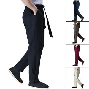 Linen Kung Fu Tai Chi Pants Martial Arts Wingchun Trousers Belts Ankle-Tied Men