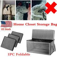 1PC Home Closet Organizer Storage Bag Clothes Quilt Blanket Zipper Box Foldable