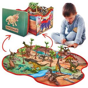 Toy Dinosaurs Set - 12 Deluxe Figures + Transforming Playmat Storage Toy Box