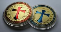 Pair of Large Gold Masonic Knights Templar Coins with Blue & Red Enamel. Masons