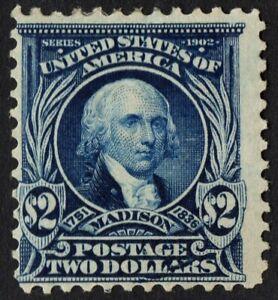 """US Sc# 312 *MINT OG H* { $2 BLUE MADISON } """"SCARCE PERF 12"""" FROM 1903 CV$ 875.00"""