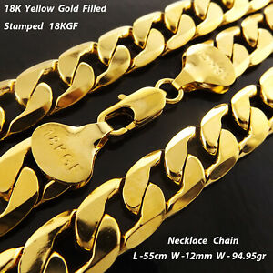 Necklace Real 18k Yellow Gold Filled Solid Men's Statement Curb Link Chain 55cm
