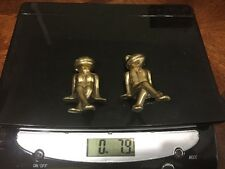 Bronze Frog Figurines Make And Female Toad Sitting Position 8 Ounces