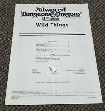 Wild Things - Advanced Dungeons & Dragons Supplement TSR 2020S AD&D Rare