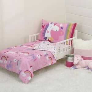 Unicorn Wishes & Rainbow Dreams 4pc Toddler Bedding Set by Everything Kids