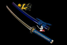 Japanese samurai katana clay tempered t-10 folded steel blade sword full tang