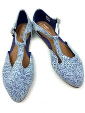 Womens Toms D'orsay Blue Mosaic Tooled Pointed Mary Jane Flats Size 8.5