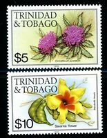 TRINIDAD & TOBAGO 406-7 MINT NH HIGH VALUES FLOWERS