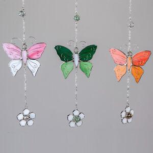 Formano Deko Hänger Schmetterling rosa grün orange weiß Tiffany Glas Metall NEU