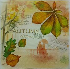 VINTAGE AUTUMN GREETINGS  2 single LUNCH SIZE paper napkins for decoupage 3-ply