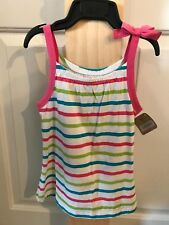Crazy 8 Tank Top Youth Girls Size 5-6 White Pink Green Blue Stripes Bow Gathers