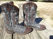 Women's 6 black w/rust distressed Double-H/Sonora Leather Western Cowboy Boots.