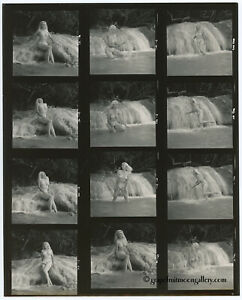 Bunny Yeager Self Portrait Contact Sheet Photograph 12 Frames Jamaica Waterfall
