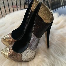 Truth Or Dare By Madonna Glitter High Heels Black Silver Bronze Gold Sz 9