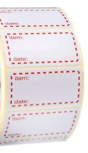 100 x FREEZER LABELS RED 50mm x 25mm  LABELS WITH EASY TEAR PERFORATIONS
