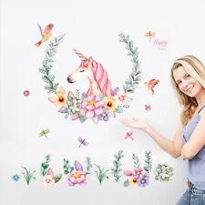 Vintage Flower Birds Unicorn Wall Sticker for Children's Room Girl Bedroom Decor